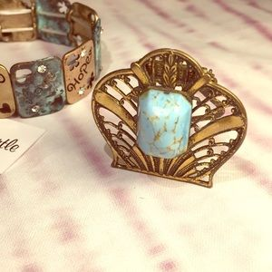 Art Deco Gatsby 1920's Turquoise pin clip brooch